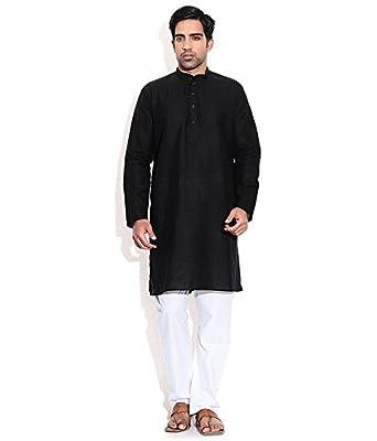 40d189fc9b TwoPeople India Black Cotton Kurta and Pajama Set (TPMDK118-44