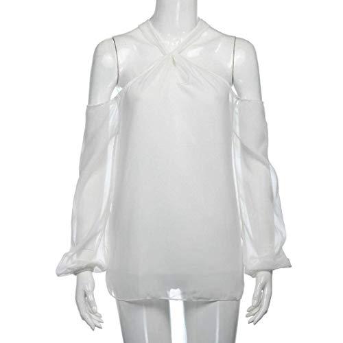 Nues Printemps paules Tee Manches Mousseline Tops Haut Dsinvolte Chic Shirt lgant Costume Blanc Automne Femme Unicolore Shirt Branch Fashion Hipster Longues Blouse aAqpWHnT