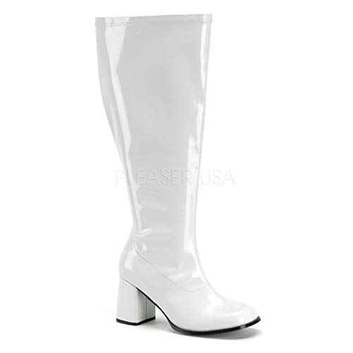 Funtasma Women's Gogo-300X Knee-High Boot,White Stretch Patent,8 C/D US -