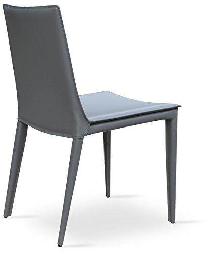 Soho Concept TiffanyDC-SBW-GBL Tiffany Dining Chair, Grey Bonded Leather
