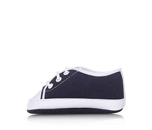 BABY VIP - Blauer Schuh für die Wiege mit Schnürsenkeln aus Stoff, made in Italy, äußerst bequem und flexibel, Baby Jungen