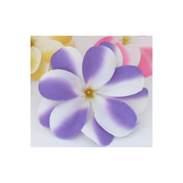 ShineBear 50 Pieces White Artificial Hawaiian Plumeria Frangipani Silk Flowers Wedding Decoration B47 – (Color: Purple)