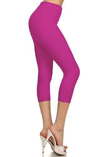Pink Soft Capris - Premium Ultra Soft Womens High Waist Capri Leggings - Solid Fuchsia Pink - Small/Medium (0-12) - NCPR128-Fuchsia-R
