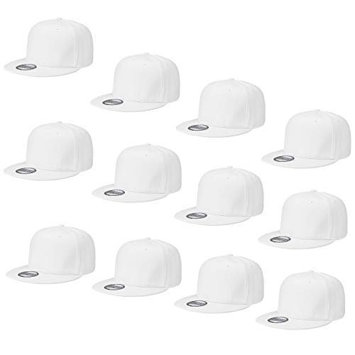 (Falari Wholesale 12 Pack Snapback Hat Cap Hip Hop Style Flat Bill Blank Solid Color Adjustable Size G212-05-White)