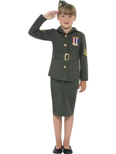 Smiffy's Children's WW2 Army Girl Costume with (Jacket, Skirt, Attached Belt and Hat) , Khaki Green, Ages 10-12 Large