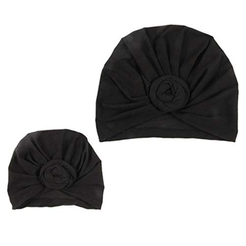 Mommy And Baby Hat Headband Donut Turban Sport Yoga Solid Knotted Cap Cotton Cute Hats Newborn Baby Indian Knot,Black