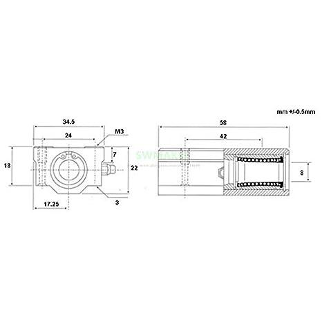 8mm Linear Rail Double Igus Drylin RJ4JP-01-08 Polymer SC8LUU /& Bracket