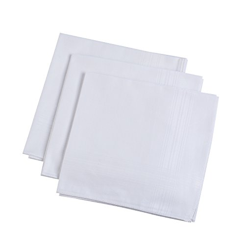 H.FaceSSS Men's Handkerchiefs White 100% Cotton Pack of 13 Fine Pocket Square Hankies by H.FaceSSS (Image #3)