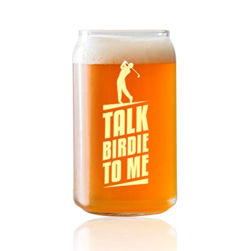 Talk Birdie To Me- Engraved Golfer Beer Glass- 16 or 20oz. Beer Can Style Glass- Funny Gifts for Men and Women Golfer gifts. Includes free Food Pairing Card- 1 Count -