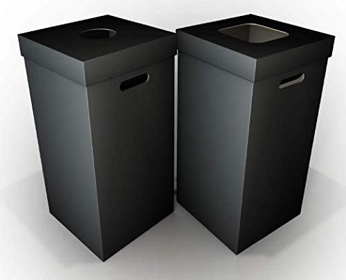 Disposable Cardboard Trash and Recycling Boxes: Bin + Lid + Trash Bag- Black (Qty. 10 Sets) -