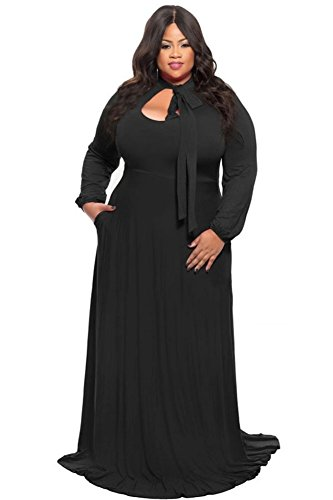Lalagen Women\'s Vintage Long Sleeve Plus Size Evening Party Maxi Dress Gown