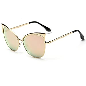 Tansle womens Metal cateye sunglasses hollow designed gold fram black lens