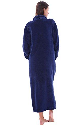 Alexander Del Rossa Women's Zip Up Fleece Robe, Warm Loose Sherpa Bathrobe