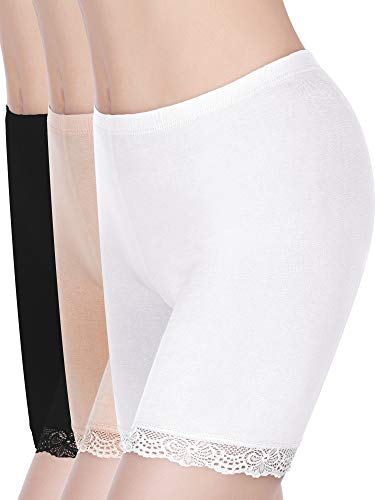 3 Pieces Anti-Chafing Modal Panties Lace Yoga Shorts Stretch Underwears for Women and Girls (Color Set 1, L)