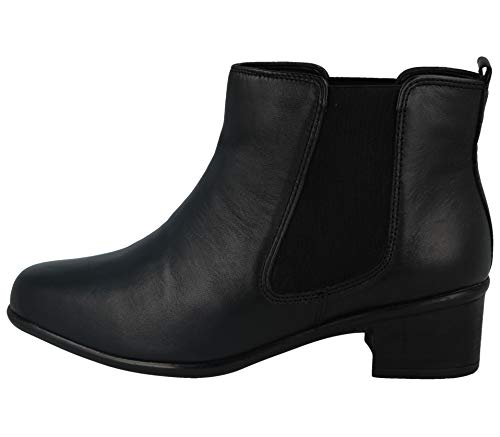 UK EU 8 Leather Heel Block Black Womens Boot Größe Gluv Schwarz 42 Chelsea wUq4zz