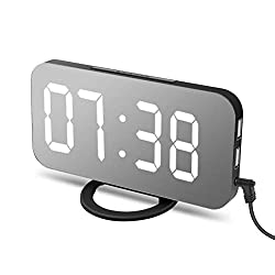 Creative Alarm Clock Large LED Clock with Dual USB Port Slim Mirror Desk Clock for Living Room Bedroom Decor