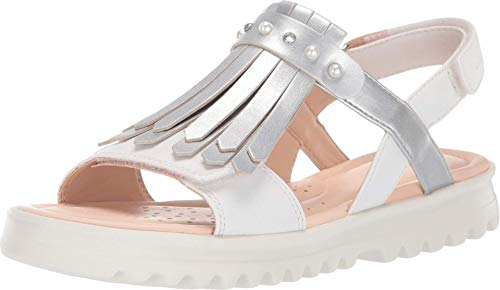 Geox Kids Girl's Sandal Coralie Girl 8 (Big Kid) White/Silver 36 (US 4 Big Kid)