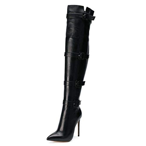 XYD Women Stiletto High Heel Over The Knee Boots Pointed Toe Buckled Strappy Thigh High Boot Winter Club Shoes Size 6 Black