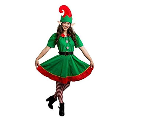 xingmeihe Womens Christmas Holiday Elf Dress and Hat Costume (Fits Height 170cm)