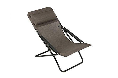 LAFUMA Liegestuhl Transabed Batyline Duo aus Stahl, schwarz, ca. 70 x 105 x 117 cm, Sitzfläche aus hochwertiger Textilene in wood, Sessel dreifach verstellbar, klappbar, Kopfpolster, wetterfest