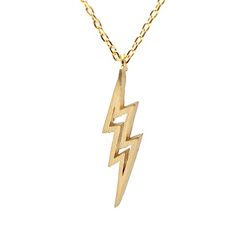 SpinningDaisy Handcrafted Brushed Metal Lightning Bolt Necklace Gold