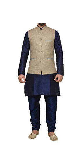 Mag Men's Nevy Blue Matching silk Kurta Churidhar With Coffee Colour Joot Waistcoat (RG-10443-42) ()