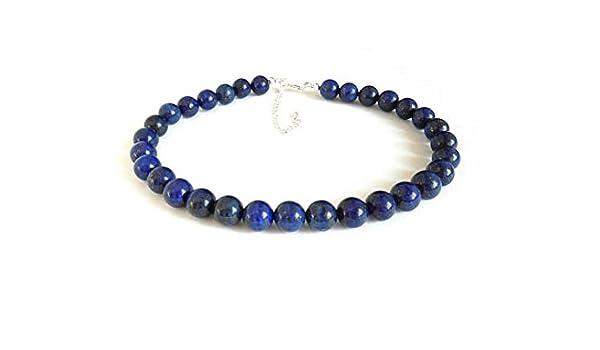 d9568dd06b132 Amazon.com: 10mm Lapis Lazuli Necklace, Lapis Lazuli Jewelry, Lapis ...