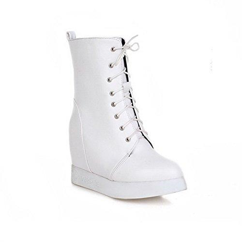 AgooLar Damen Hoher Absatz Weiches Material Niedrig-Spitze Rein Stiefel, Weiß, 37