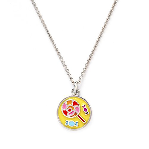 Girls Silver Rhodium Plated Wishes Lollipop Pendant Expandable (Avery Brass Pendant)