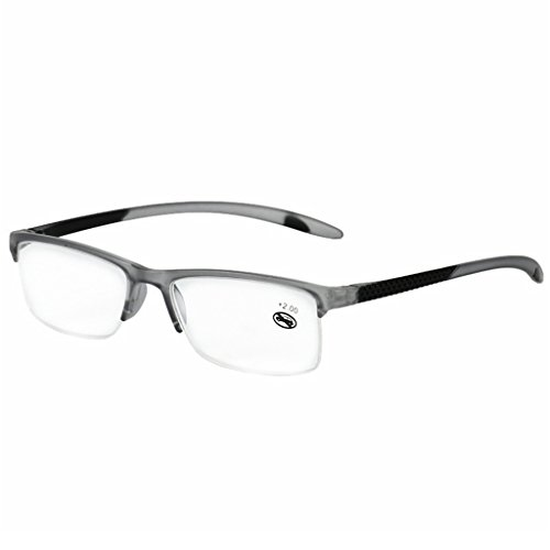 Allrise Unisex Reading Glasses, Presbyopic Eyeglasses Full Frame +1.0 To +3.5 Portabl (GY, +200)