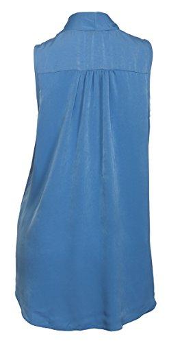 EVogues Plus size Pleat V-Neck Blouse Blue - 3X