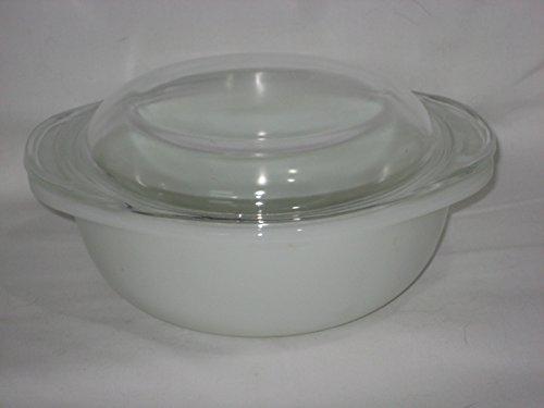 Vintage Pyrex Milk Glass 1 Liter Round Casserole Baking Dish w/ Clear Lid (Corelle Round Casserole)
