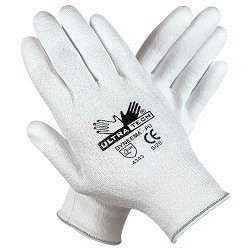 Memphis 9677XS X-Small UltraTech 13 Gauge Cut Resistant White Polyurethane Dipped Palm And Finger Coated Work Gloves With Dyneema Liner And Knit Wrist (1/PR)