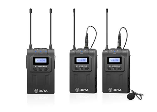 48-Channel UHF Wireless Lavalier Microphone System, BOYA WM8 Pro Microphone Two Transmitters& One Receiver Compatible for Canon Nikon Sony DSLR Camera,Camcorder, iPhone Smartphone for inteview, Video