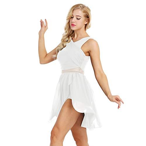 ACSUSS Women's Retro V Neck Chiffon Skirt Ballet Leotard Asymmetric Lyrical Dance Dress White Large
