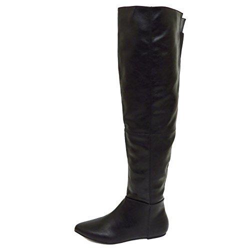 Mulheres Negras Ao Longo Da Coxa Do Joelho Alta Boho Plana Equitação Do Duende Botas Sapatos Tamanhos 3-8