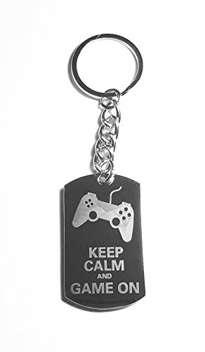 Keep Calm & Game On Video Game Controller - Metal Ring Key Chain Keychain