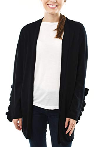 Fever Long Cardigan Sweater with Ruffle Sleeve Detail