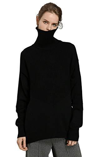 - RanRui Women's Oversized Tunic Sweater Dress for Pants Cashmere Sweater Chunky Knit (One Size, 8017 Black)
