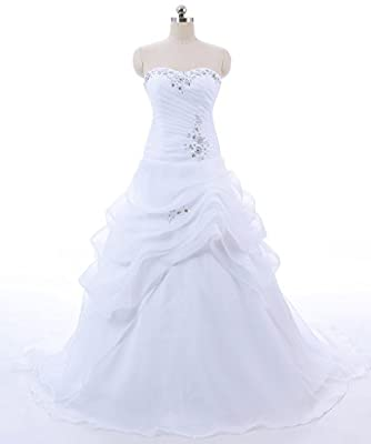 Vantexi Women's Strapless Ruffled Organza A-line Wedding Dress