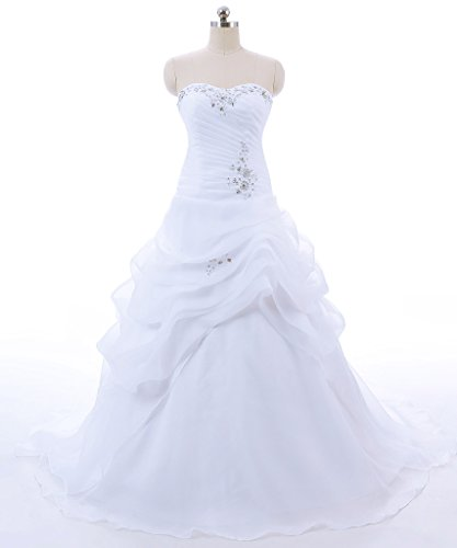 Vantexi Women's Strapless Ruffled Organza A-line Wedding Dress White Size 4