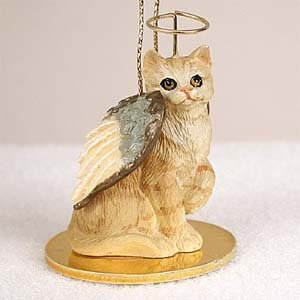 CAT RED Ginger Tabby Short hair MINIATURE Angel Christmas Ornament NEW Resin CTA04 by Eyedeal -