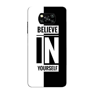 Clapcart™ Designer Printed Hard Case Back Cover for Poco X3 (Believe in Yourself Design Print)