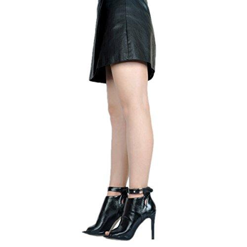 Stiletto Femmes Sandales Zip Femmes Eté Ladeis JIEEME Noir Toe Chaussures Talons Peep Hauts wZI8qAxq