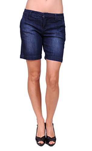 Celebrity Pink Women Dark Stone Bermuda Jeans with Welt Back Pockets 3 Dark Denim (Pocket Welt Bermuda)