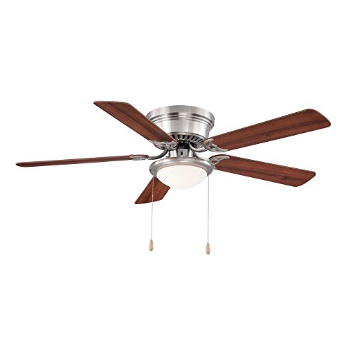 Hugger 25518 LED Brushed Nickel Ceiling Fan 52' w/ Chestnut/Maple Blades
