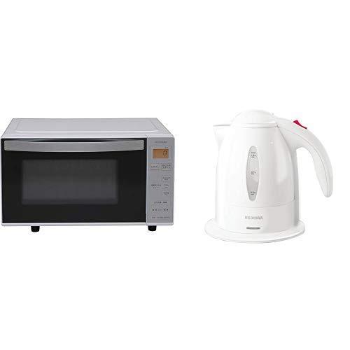 【セット販売】アイリスオーヤマ 電子レンジ ヘルツフリー 18L ホワイト/ホワイト IMB-1802 & 電気ケトル ホワイト IKE-1001-W セット  2)ブラック B07QJNV2LS