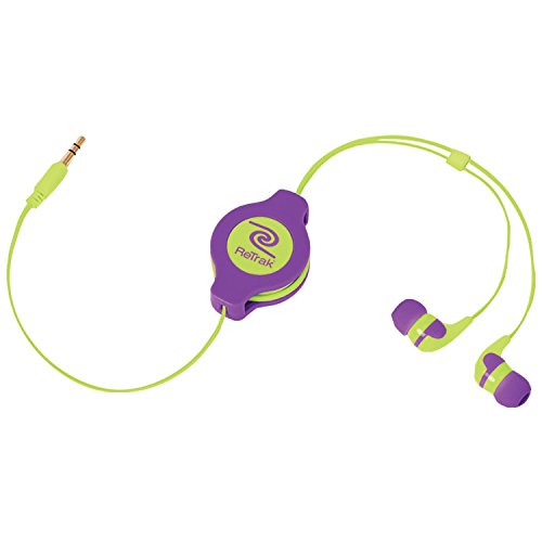 ReTrak Retractable Stereo Earbuds, Neon Purple/Yellow (ETAUDNRLYE)