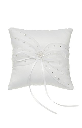 Venus Jewelry Crystal Beads Lace Bow Wedding Ring Bearer Pillow 5 Inch x 5 Inch - White RP011W
