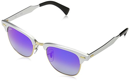 Ray-Ban CLUBMASTER ALUMINUM - BRUSHED SILVER Frame BLUE FLASH GRADIENT Lenses 49mm - Aluminum Bans Ray